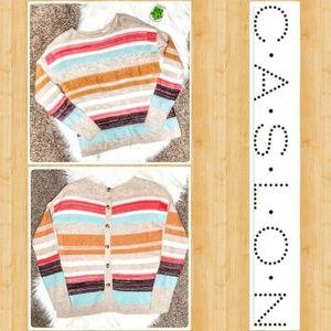 Caslon Stripe Button Back Sweater